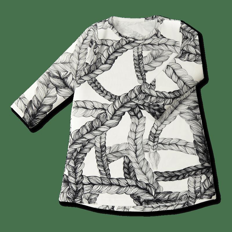 Vimma tunic dress RUU letti black-white 80-140cm - 80-140cm, black-white, braid, RUU, tunic-dress