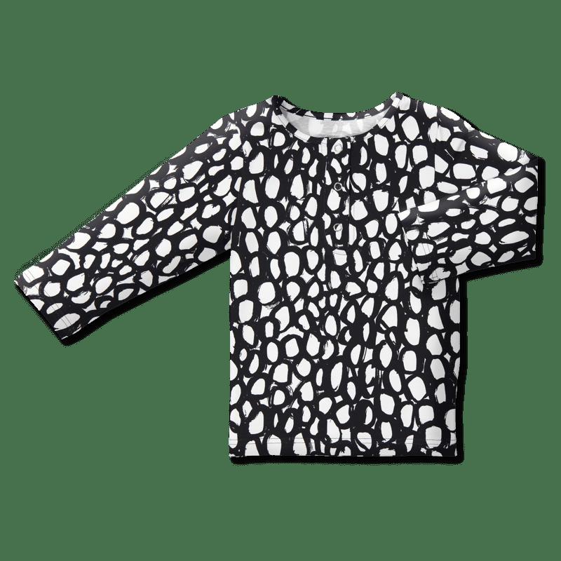 Snap shirt/'maru' (black&white) 80–140cm -