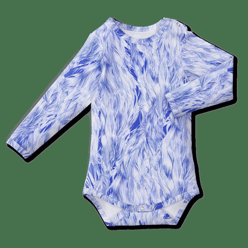 Bodysuit/'wind in the hair' (blue&white) 60–90cm -