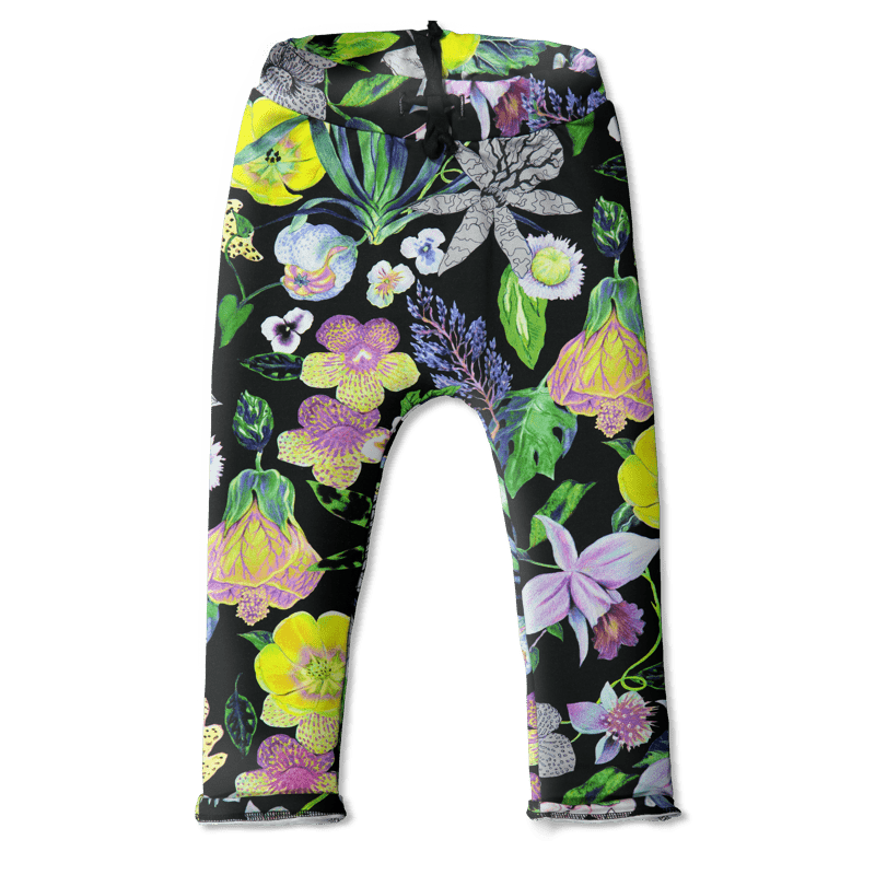 Collegehousut /'mystical flowers' (col2) 90-140 cm - collegehousut, mystical-flowers