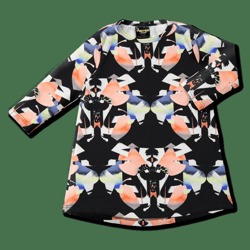 Tunikamekko/'Perhonen' (must.-koralli) 90- 140 cm - perhonen, tunikamekko
