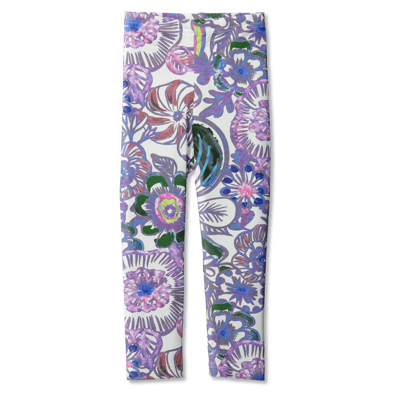 Leggins /'voimakukka' (valkoinen) 80-150cm - leggins, voimakukka