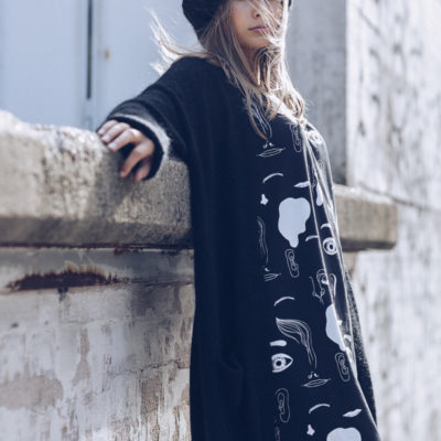 Cutted maxi Human musta-valkoinen one size