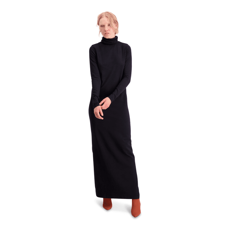 8cb50c10a2 Polo neck dress   one-colored - black S-M - Vimma Company OY