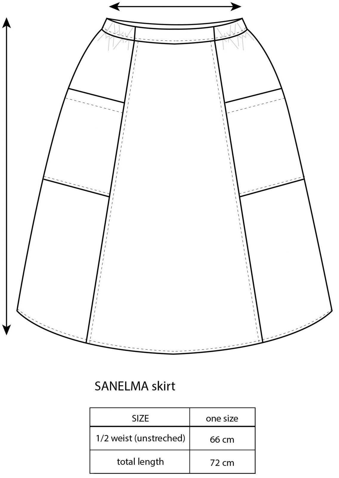 Vimma Skirt SANELMA TEMPLATE TEMPLATE Onesize - Onesize, SANELMA, Skirt, TEMPLATE