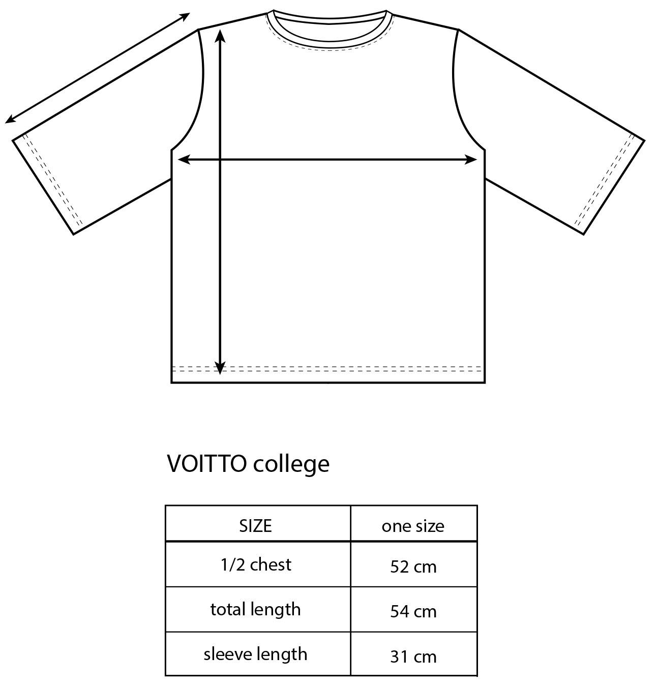 Vimma Sweatshirt 34 sleeves VOITTO TEMPLATE TEMPLATE Onesize - Onesize, Sweatshirt / 3/4 sleeves, TEMPLATE, VOITTO