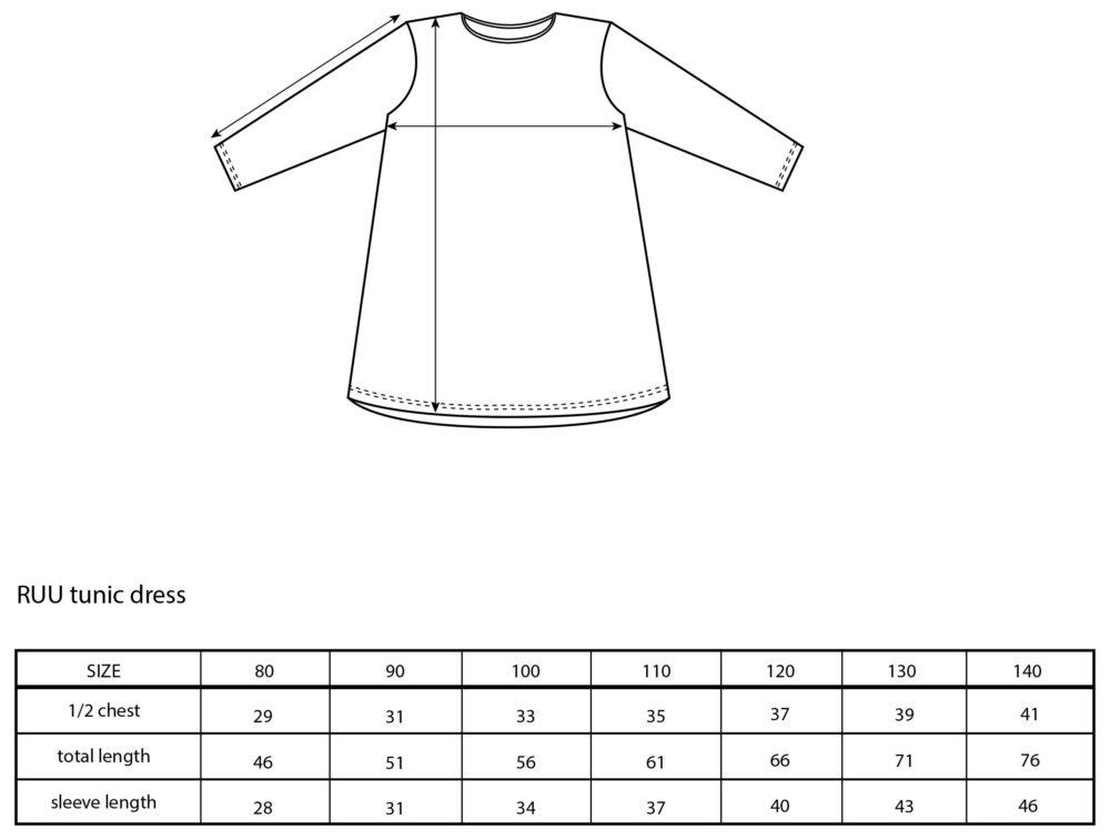 Vimma Tunic dress RUU love black-white 80-140cm - 80-140cm, black-white, love, RUU, tunic-dress