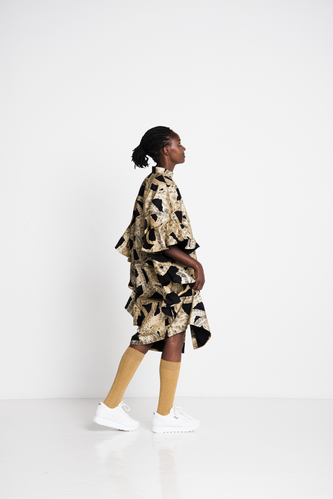 Vimma Ruffle Dress IRINA braid black-gold Onesize - black-gold, braid, IRINA, Onesize, Ruffle Dress