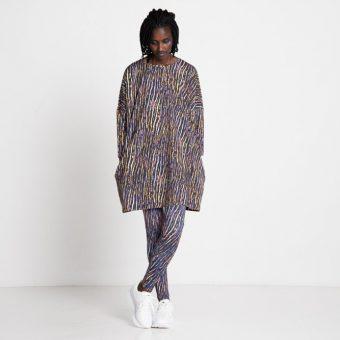Vimma leggings KAINO African Stripes lilac-orange XS-XL - African Stripes, KAINO, leggings, lilac-orange, XS-XL