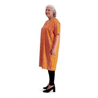 Vimma V-neck dress VEERA Dancing creatures orange one size - Dancing creatures, one size, orange, V-neck dress, VEERA