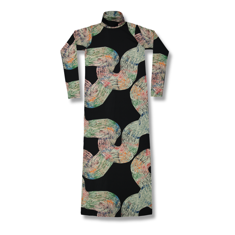 a42d383134 Vimma Polo neck dress KARLA Mutkat black-colorful S-M - black-colorful