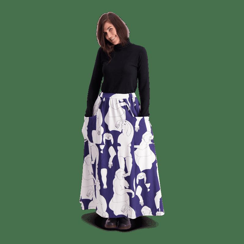 Vimma Skirt Long SYLVI Hahmot blue-white Onesize - blue-white, Hahmot, Onesize, Skirt / Long, SYLVI