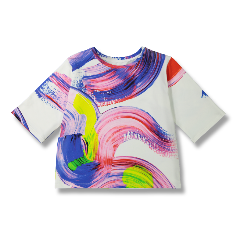 Vimma Sweatshirt 34 sleeves VOITTO Maaliprintti white-colorful Onesize - Maaliprintti, Onesize, Sweatshirt / 3/4 sleeves, VOITTO, white-colorful