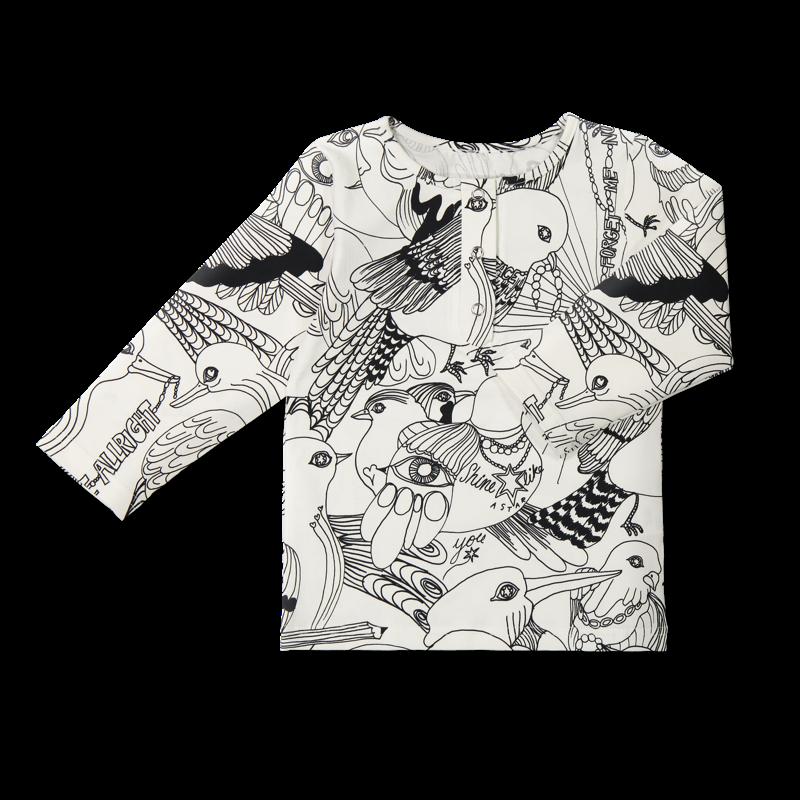 Vimma Snapper shirt OLA Lentoon lähdössä black-white 80-140cm - 80-140cm, black-white, Lentoon lähdössä, OLA, Snapper shirt