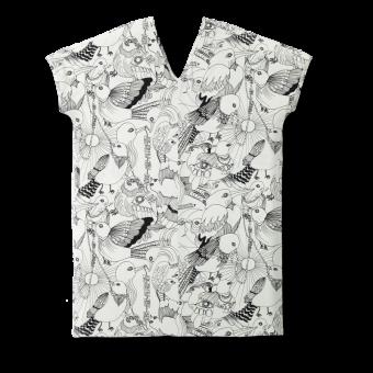 Vimma V-neck dress EEVA Lentoon lähdössä black-white Onesize - black-white, EEVA, Lentoon lähdössä, Onesize, V-neck dress