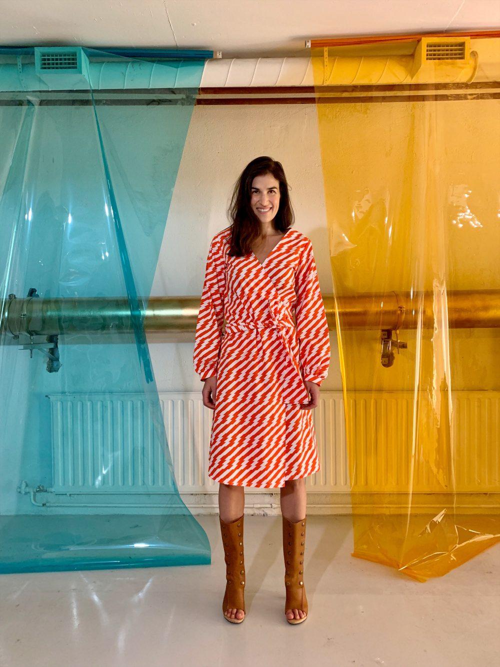 Vimma Wrapped Dress INKERI Sähköä ilmassa puna-valkoinen Onesize - INKERI, Onesize, puna-valkoinen, Sähköä ilmassa, Wrapped Dress