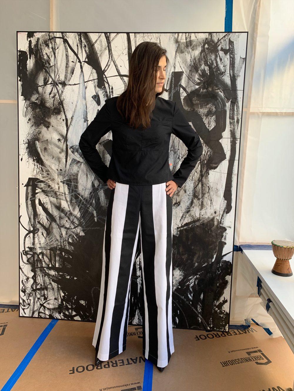 Vimma trousers ILONA leveä raita musta-valk XS-L - (musta-valk), ILONA, leveä raita, trousers, XS-L