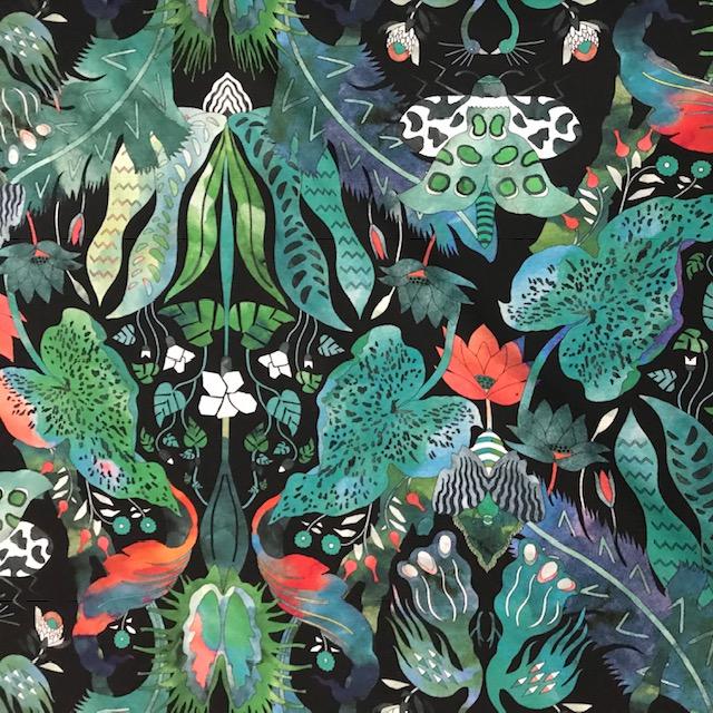 Vimma Cotton texite Jungle green-colourful Vowen cotton - Cotton texite, green-colourful, Jungle, Vowen cotton