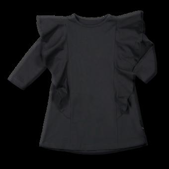 Vimma Ruffle Dress JULIA yksivärinen musta 90-150cm - 90-150cm, black, JULIA, Ruffle Dress, yksivärinen