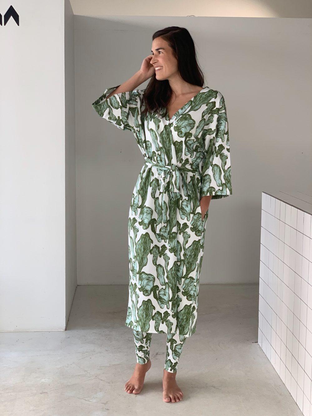 Vimma leggings KAINO Kanttarellit off-white-green XS-XL - KAINO, Kanttarellit, leggings, off-white-green, XS-XL