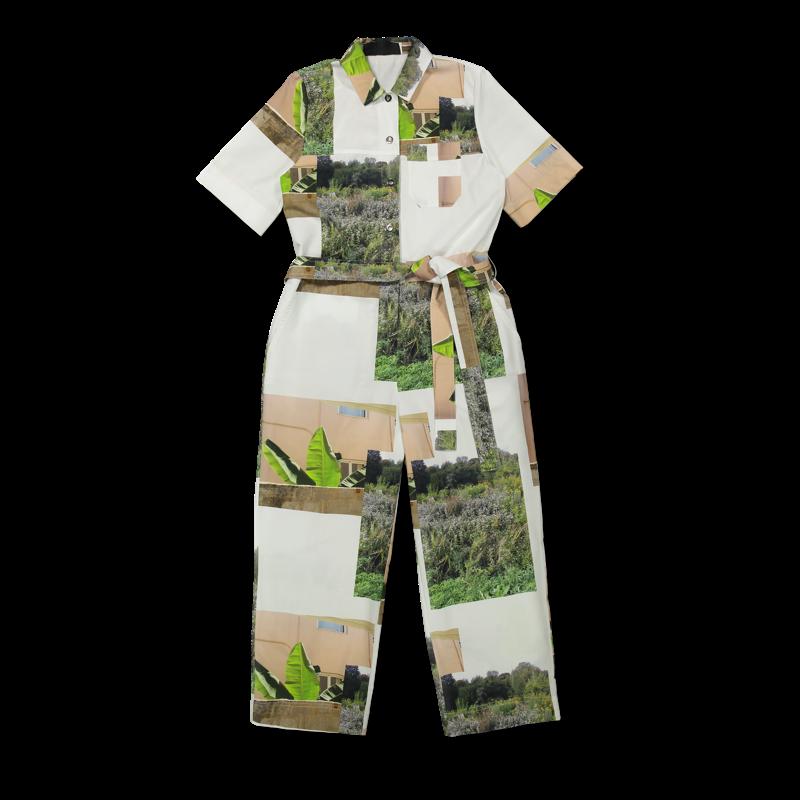 Vimma UUTTA Jumpsuit HARRI Muisto white-green S-L - HARRI, Muisto, S-L, UUTTA Jumpsuit, white-green