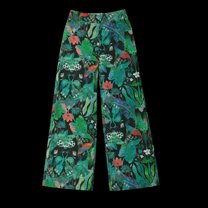 Vimma trousers ILONA Jungle green-colourful XS-L - green-colourful, ILONA, Jungle, trousers, XS-L