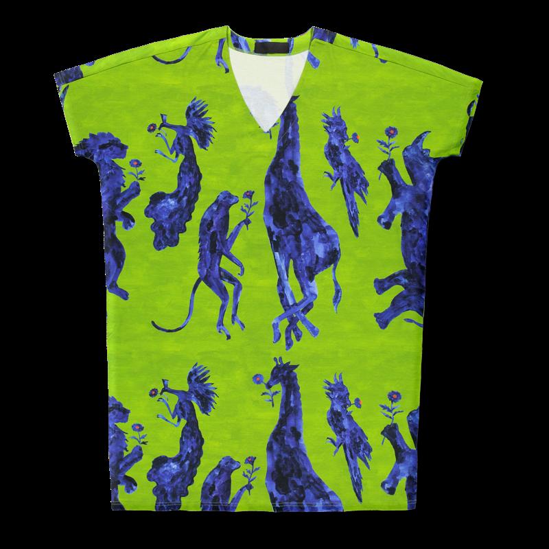 Vimma V-neck dress VEERA Animal love green-blue Onesize - animal love, green-blue, Onesize, V-neck dress, VEERA