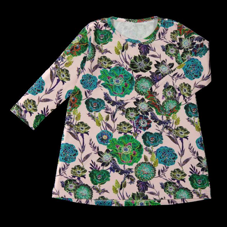 Vimma Tunic dress RUU Wild Flowers pink 80-140cm - 80-140cm, pink, RUU, tunic-dress, Wild Flowers