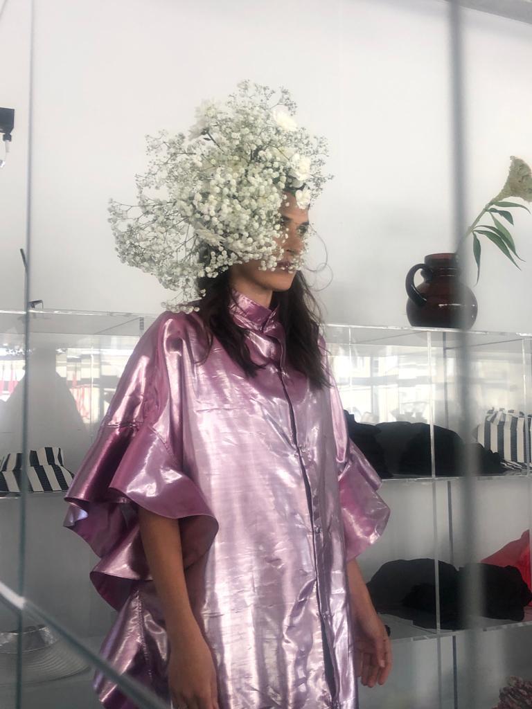 Vimma Ruffle Dress IRINA metallic fuksia Onesize - fuksia, IRINA, metallic, Onesize, Ruffle Dress