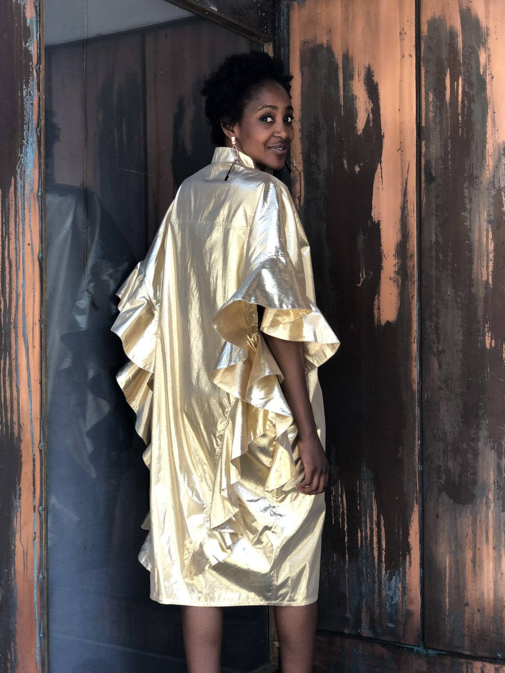 Vimma Ruffle Dress IRINA Special Gold Onesize - gold, IRINA, Onesize, Ruffle Dress, Special