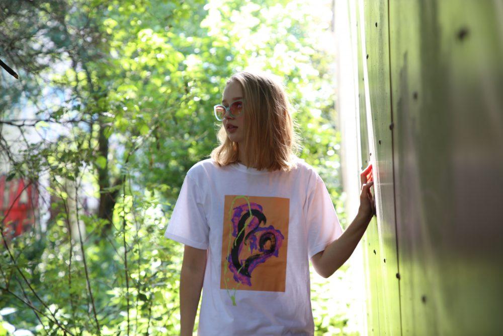 Vimma T-shirt Unisex RAUHA Graffiti Hearts orange-lilac Onesize - Graffiti Hearts, Onesize, orange-lilac, RAUHA, T-shirt / Unisex