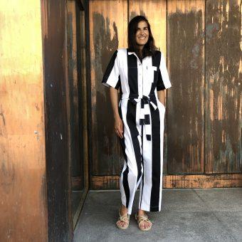 Vimma Jumpsuit HARRI leveä raita black-white S-L - black-white, HARRI, Jumpsuit, leveä raita, S-L