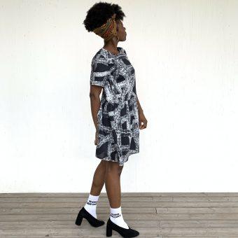 Vimma Tunic dress KUKKA Archive black-white XS-L - Archive, black-white, KUKKA, tunic-dress, XS-L