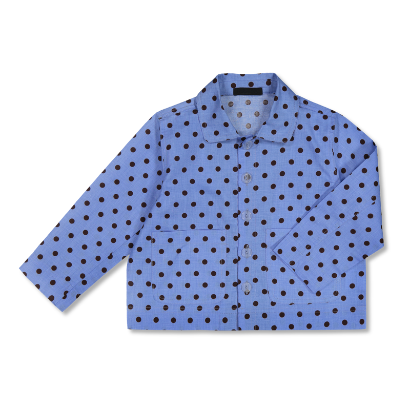 shirt jacket blue with dots
